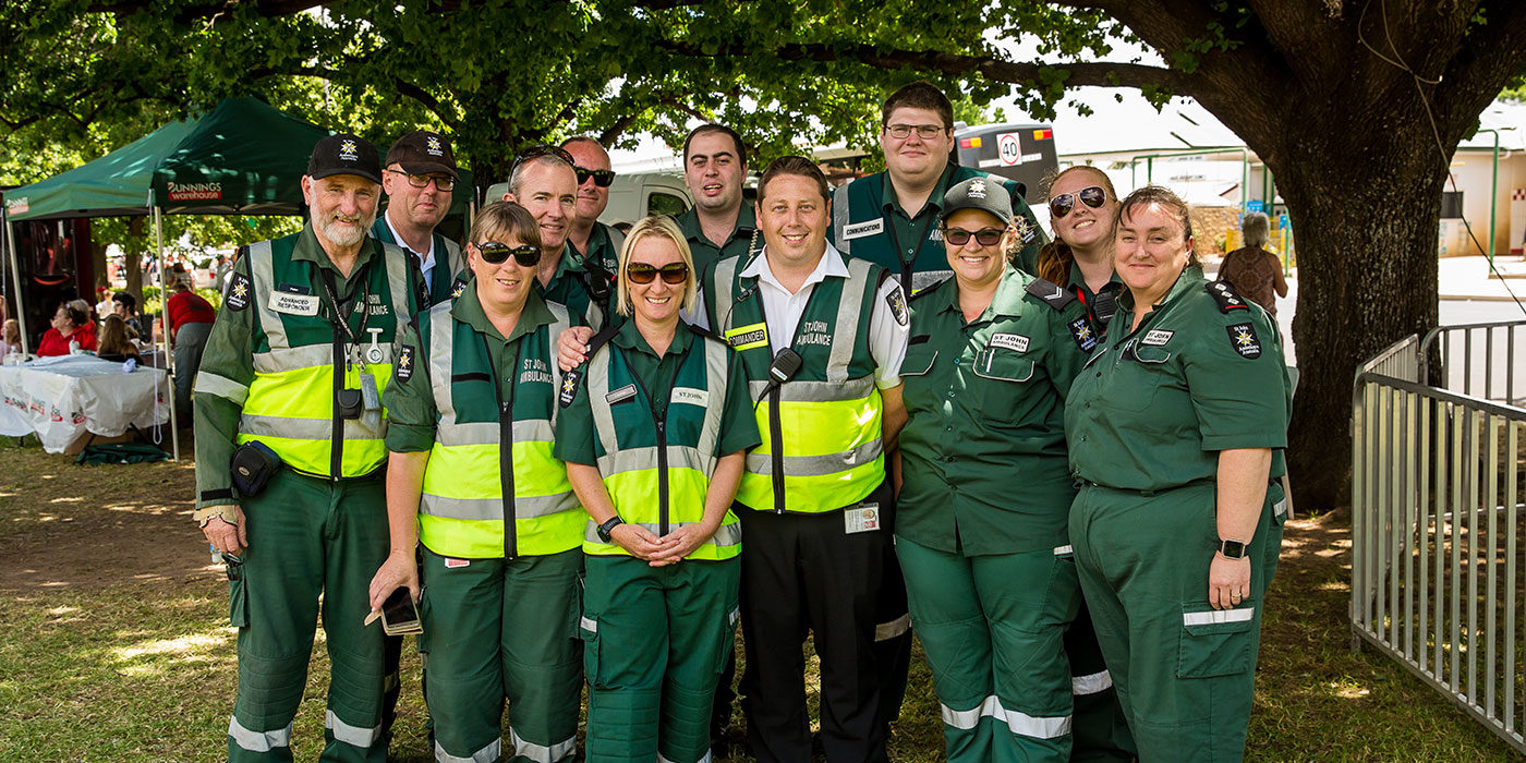 St Johns Ambulance team looking after fans at the Parkes Elvis Festival